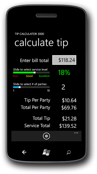 Tip Calculator 3000(tm) on the Windows Phone